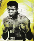 Boxing Collectibles:Memorabilia, Muhammad Ali Signed Original Artwork. Reminiscent of the style of legendary pop icon Andy Warhol, this electrifying portrai...