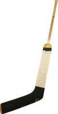 Hockey Collectibles:Uniforms, 1969-70 Jacques Plante Game Used Stick Signed by the St. LouisBlues. A true pioneer of his goaltending position, it was Pl...