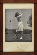 Golf Collectibles:Autographs, 1940's Babe Didrikson Zaharias Signed Large Photograph. Take anoversized photo of this legendary athlete engaged in her mo...
