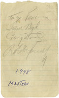Golf Collectibles:Autographs, 1948 Masters Signed Album Sheets with Bobby Jones, Craig Wood. Averitable who's who of links legends comprise the twenty-o...