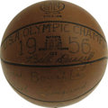 Basketball Collectibles:Balls, 1956 Olympic Basketball Gold Medal Game Ball, Signed by EntireU.S.A. Team including Russell. The 1956 United States Men's ...