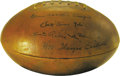 """Football Collectibles:Others, """"Pop"""" Warner, Knute Rockne, Tad Jones, & Jim Thorpe Signed Football Humidor. We only wish we knew what event it was that bro..."""