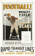 Football Collectibles:Others, 1929 Chicago Bears Schedule Broadside with Red Grange. Before the appearance on the scene of the game's biggest star, profe...