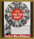 Football Collectibles:Others, 1935 Pabst Blue Ribbon NFL Schedule Advertising Sign. Proof that the marriage of professional football and beer drinking is...