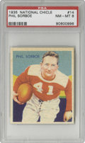 Football Cards:Singles (Pre-1950), 1935 National Chicle Phil Sorboe #14 PSA NM-MT 8. The Chicago Cardinals quarterback sprints for daylight on the face of thi...