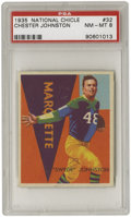 Football Cards:Singles (Pre-1950), 1935 National Chicle Chester Johnston #32 PSA NM-MT 8. What afantastic card! The common theme in our offerings from this ...