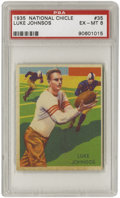 Football Cards:Singles (Pre-1950), 1935 National Chicle Luke Johnsos #35 PSA EX-MT 6. The second tolast card in the set is another low population specimen, w...