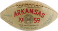 Football Collectibles:Balls, 1959 University of Arkansas Razorbacks Team Signed Football. Considered one of the finest teams ever to take the field in F...