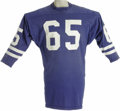 Football Collectibles:Uniforms, Late 1960's Tom Mack Game Worn Jersey. Simple in design yet massive in appeal is this early career gamer from the Hall of F...