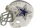 Football Collectibles:Helmets, Early 1980's Dallas Cowboys Game Worn Helmet Signed by Cowboys Legends. Classic Cowboys helmet saw action in the early Eigh...