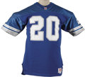 Football Collectibles:Uniforms, 1992 Barry Sanders Game Worn Jersey. Just four years after earning the Heisman Trophy for his exploits at Oklahoma State, t...