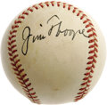 Autographs:Baseballs, 1940's Jim Thorpe Single Signed Baseball, PSA NM-MT 8. It'soverkill, really, a Thorpe single of this exceptional quality. ...