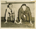 """Football Collectibles:Others, Jim Thorpe Signed Large Photograph. Image measures 11x14"""" in size and pictures Thorpe posing in a starting stance with an o..."""