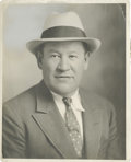 """Football Collectibles:Others, Jim Thorpe Signed Photograph. Exceptional studio shot measures 8x10"""" in size and pictures Thorpe in a suit and fedora. Blu..."""
