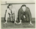 """Football Collectibles:Others, Jim Thorpe Signed Photograph. Image measures 8x10"""" in size and pictures Thorpe and a buddy posing in the stance of a starti..."""