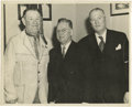 """Football Collectibles:Others, Jim Thorpe Signed Photograph. Image measures 8x10"""" in size and pictures Thorpe in western wear posing with two gentlemen in..."""
