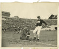"""Football Collectibles:Others, Jim Thorpe Signed Photograph. Image measures 8x10"""" in size and pictures an aging, leather-helmeted Thorpe kicking a footbal..."""