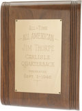 Football Collectibles:Others, 1946 Jim Thorpe Lifetime Achievement Award Plaque. Exceptional personal Thorpe artifact is all the more desirable for its r...