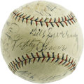 Autographs:Baseballs, 1929 Philadelphia Athletics Team Signed Baseball. Connie Mack hadbeen on top of the world in 1914, having captured the Ame...