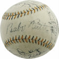 "Autographs:Baseballs, 1930 New York Yankees Team Signed Baseball. The pairing of black fountain pen ink and a wonderfully white ""Babe Ruth Home R..."