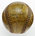 Autographs:Baseballs, 1937 New York Giants Team Signed Baseball. Age and a skillfullyapplied layer of shellac have granted this ONL (Frick) ball...