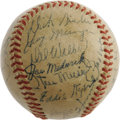 "Autographs:Baseballs, 1947 St. Louis Cardinals Team Signed Baseball. The defending WorldChamps, thanks to an Enos Slaughter ""mad dash"" that crus..."