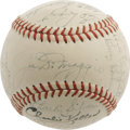 Autographs:Baseballs, 1949 New York Yankees Team Signed Baseball. The hiring of newmanager Casey Stengel caused something of an uproar among fan...
