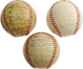 Autographs:Baseballs, 1951-53 Brooklyn Dodgers Team Signed Miniature Baseballs Lot of 3.Miniaturized ONL (Frick) balls each offers between twent...