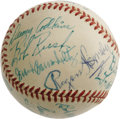 Autographs:Baseballs, Circa 1953 Rogers Hornsby, Frank Frisch Signed Baseball. High-gradeONL (Frick) ball appears to be largely the 1953 Chicago...