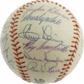 Autographs:Baseballs, 1956 Brooklyn Dodgers Team Signed Baseball. Please note that the Duke Snider autograph has been deemed secretarial. Wi...
