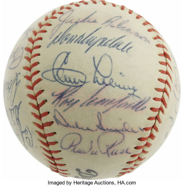 21f5938bbe6 1956 Brooklyn Dodgers Team Signed Baseball. Please note that