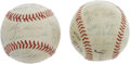 "Autographs:Baseballs, 1960 New York Yankees Team Signed Baseballs Lot of 2. The historicpartnership known forever afterwards as ""The M&M Boys"" w...(Total: 2 )"