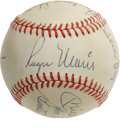 Autographs:Baseballs, 1961 New York Yankees Stars Signed Baseball with Mantle &Maris. A stunning blue ink sweet spot signature from theseason's...