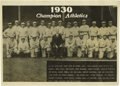 Baseball Collectibles:Photos, 1930 Philadelphia Athletics Panoramic Photograph. After the 1927New York Yankees, most baseball historians place the 1929 ...