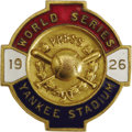 Baseball Collectibles:Others, 1926 World Series (New York Yankees) Press Pin. The Yankees' thirdFall Classic. The face of the pin presents beautifully,...