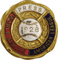 Baseball Collectibles:Others, 1928 World Series (New York Yankees) Press Pin. The Yanks make it eight October wins in a row as they sweep their National ...