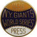 Baseball Collectibles:Others, 1936 World Series (New York Giants) Press Pin. The rookie DiMaggiogot his first taste of World (and Subway) Series basebal...