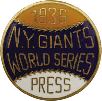 1936 World Series (New York Giants) Press Pin. The rookie DiMaggio got his first taste of World (and Subway) Series base...