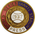 Baseball Collectibles:Others, 1937 World Series (New York Yankees) Press Pin. Barely a hint ofwear allows this pin from yet another Yankee World Champio...