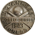 Baseball Collectibles:Others, 1943 World Series (New York Yankees) Press Pin. Dieges & Clustdesign follows the understated WWII style, eschewing the col...