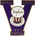 Baseball Collectibles:Others, 1953 World Series (New York Yankees) Press Pin. Was it boastful toincorporate the roman numeral five into the design of th...