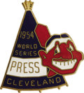 Baseball Collectibles:Others, 1954 World Series (Cleveland Indians) Press Pin. Great teepee andChief Wahoo die-cut imagery makes this pin a collecting f...