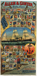 "Miscellaneous Collectibles, Circa 1888 Allen & Ginter N17 Naval Flags Advertising Poster.An heroic image of the United States Frigate ""Chicago"" slicin..."