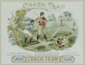 "Baseball Collectibles:Others, 19th Century ""Crack Team"" Baseball Cigar Label. This exceptional piece of Victorian-era baseball artwork was intended to fi..."