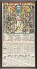 Baseball Collectibles:Others, 1907 Cincinnati Reds Lithographic Schedule. Absolutely gorgeousproduction piece was issued by local newspaper The Cincinna...