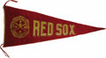 Baseball Collectibles:Others, Circa 1915 Boston Red Sox World Champions Large Pennant.Magnificently rare pennant has scarcely appeared in the hobbysinc...