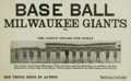 Baseball Collectibles:Others, 1930's Milwaukee Giants Negro League Broadside. Certainly one ofthe finest condition Negro League broadsides you'll ever s...