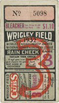 "Baseball Collectibles:Others, 1932 World Series Babe Ruth ""Called Shot"" Game Ticket Stub. Theword ""Bleacher"" emblazoned on this ticket leads us to wonde..."