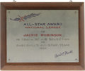 Baseball Collectibles:Others, 1950 All-Star Game Plaque Presented to Jackie Robinson. NationalLeague president Ford Frick formally extends his thanks to...