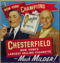 Baseball Collectibles:Others, 1951 Chesterfield Cigarettes Advertising Sign with Stengel, Durocher. The banner fluttering over the heads of this Hall of ...